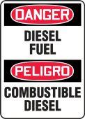 - Bilingual Contractor Preferred OSHA Danger Corrugated Plastic Sign: Diesel Fuel
