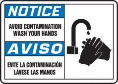 hand wash - Bilingual ANSI Notice Safety Sign: Avoid Contamination - Wash Your Hands (Graphic)