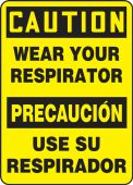 - Bilingual Contractor Preferred OSHA Caution Safety Sign: Wear Your Respirator