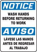 hand wash - Spanish Bilingual OSHA Notice Safety Sign: Wash Hands Before Returning To Work