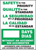 - Bilingual Write-a-Day Scoreboards: Safety Is the Priority - Quality Is The Standard - _ Days Without An Accident - Accidents Are Avoidable