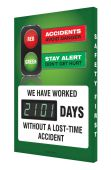 - Digi-Day® 3 Electronic Safety Scoreboards: Accidents Avoid Danger Stay Alert Don't Get Hurt We Have Worked ___ Days Without A Lost Time Accident