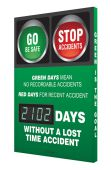- Digi-Day® 3 Electronic Safety Scoreboards: Green Days Mean No Recordable Accidents Red Days For Recent Accident __ Days Without A Lost Time Accident