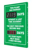 - Digi-Day® 3 Electronic Scoreboards: This Plant Has Worked _ Days Without A Lost Time Accident - The Best Previous Record was _ Days - Do Your Part!