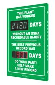 - Digi-Day® 3 Electronic Safety Scoreboards: This Plant Has Worked ____ Days Without An OSHA Recordable Injury - The Best Previous Record Was ____ Days