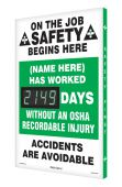 - Semi-Custom Digi-Day® 3 Electronic Safety Scoreboards: (name here) Has Worked _Days Without An OSHA Recordable Injury