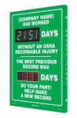 - Semi-Custom Digi-Day® 3 Electronic Scoreboards: (name here) Has Worked _Days Without An OSHA Recordable Injury - The Best Previous Record Was _Days