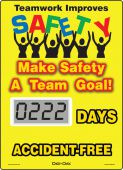 - Mini Digi-Day® Electronic Scoreboards: Teamwork Improves Safety - Make Safety A Team Goal - _ Days Accident Free