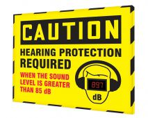 - OSHA Caution Industrial Decibel Meter Sign: Hearing Protection Required When The Sound Level Is Greater Than 85 dB