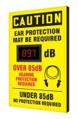 - OSHA Caution Industrial Decibel Meter Sign: Ear Protection Required Under 85dB - No Protection Required - Over 85dB - Hearing Protection Required