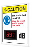 DIGITAL2019JUNE - OSHA Caution Industrial Decibel Meter Sign: Ear Protection Required When The Sound Is Greater Than 85 dB