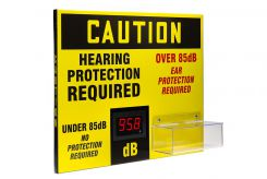 DIGITAL2019JUNE - OSHA Caution Decibel Meter Sign With Ear Plug Dispenser