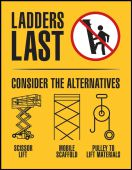 ladders last - Safety Posters: Ladders Last consider The Alternatives