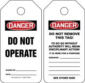 - Mini OSHA Danger Safety Tag: Do Not Operate
