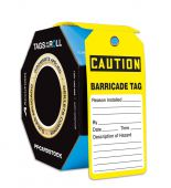 - OSHA Caution Tags By-The-Roll With Grommets: Barricade Tag