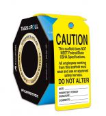 - OSHA Caution Tags By-The-Roll With Grommets: Scaffold Tag