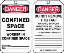 - OSHA Danger Safety Tag: Confined Space- Worker In Confined Space