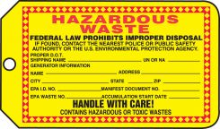 - Safety Tag: Hazardous Waste - Handle With Care