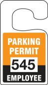 - VERTICAL HANGING TAGS: PARKING PERMIT EMPLOYEE