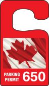 - VERTICAL HANGING TAGS: PARKING PERMIT - CANADIAN PRIDE FLAG