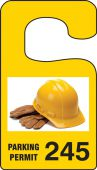 - VERTICAL HANGING TAGS: PARKING PERMIT IMAGE OF HARD HAT