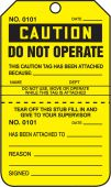 - Caution Safety Tag: Do Not Operate - Perforated