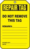 - Equipment Status Safety Tag: Repair Tag