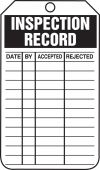 - Inspection Status Safety Tag: Inspection Record