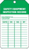 - Equipment Status Safety Tag: Safety Equipment Inspection Record