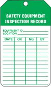 - Jumbo Equipment Status Safety Tag: Safety Equipment Inspection Record