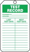 - Jumbo Record Status Safety Tag: Test Record