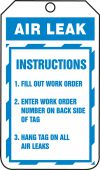 - Jumbo Record Status Safety Tag: Air Leak Instructions