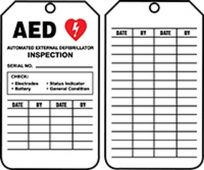 - AED Status Safety Tag: Automatic External Defibrillator Inspection
