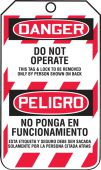 - Bilingual OSHA Danger Lockout Tag: Do Not Operate - This Tag & Lock To Be Removed Only By Person Shown On Back