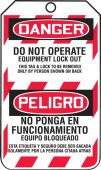 - Bilingual OSHA Danger Lockout Tag: Do Not Operate - Equipment Lock Out