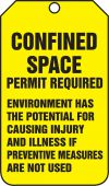 - Confined Space Status Tag: Confined Space Permit Required