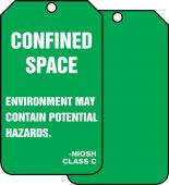- Confined Space Status Safety Tag: Confined Space- Environment May Contain Potential Hazards