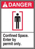 - ANSI Danger Safety Sign: Confined Space - Enter By Permit Only