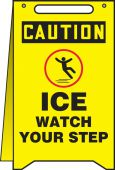 - OSHA Caution Fold-Ups® Floor Sign: Ice Watch Your Step